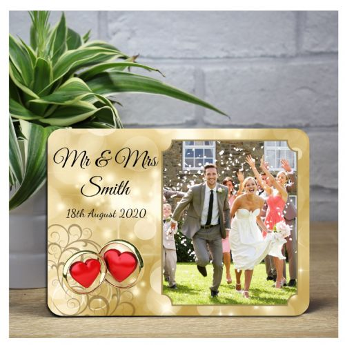 Personalised Gold & Red Hearts Wedding Wood Photo Panel Frame Print F16